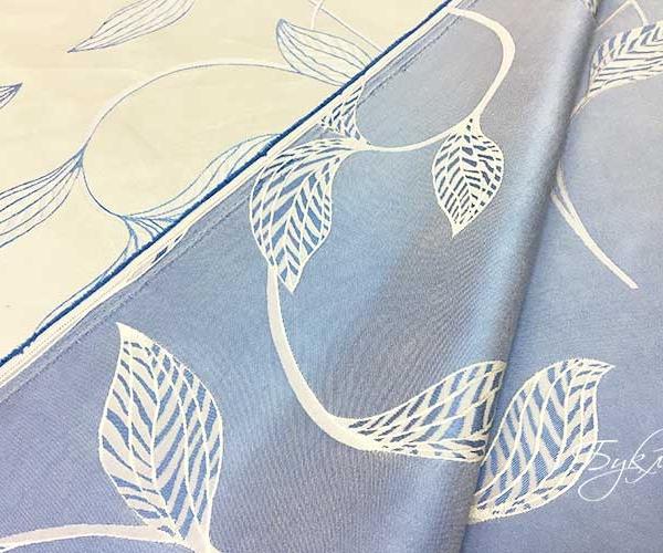 Голубая Портьерная Ткань с Листьями
