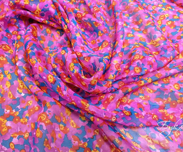 Розовый Шелк Шифон с Цветами