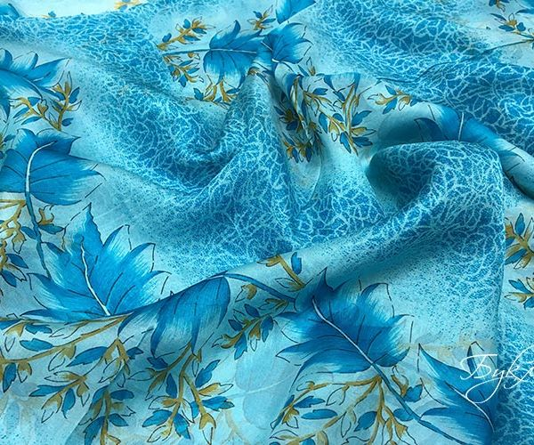 Голубой с Листьями Шифон Италия