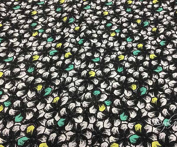 Зелено-желтые цветы Штапель