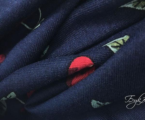 Темно-синий Трикотаж с Вишней