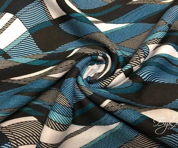 Серый с Бирюзовым Трикотаж с Волнами