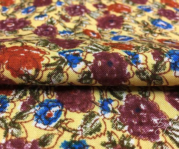 Желтая Ткань с Цветочками