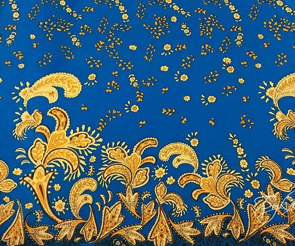 Синий с Золотом Креп Италия