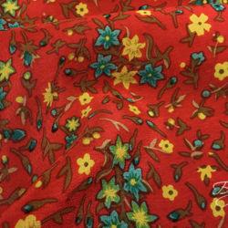 Красный с Цветочками Креп Италия