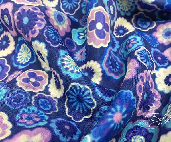 Синий с Цветочками Батист