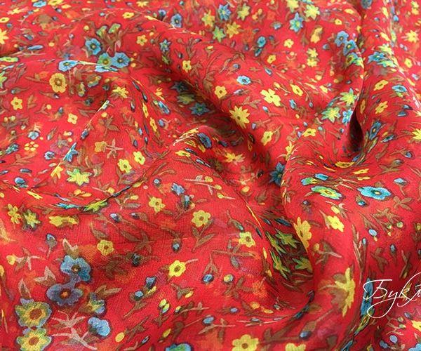 Красный с Цветочками Шифон Италия