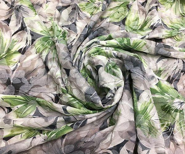 Серо-зеленый Хлопок с Цветами