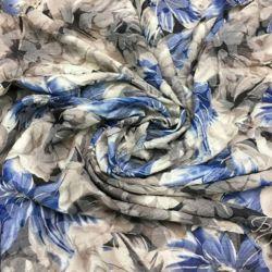 Серо-синий Хлопок с Цветами