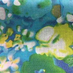 Голубой Хлопок с Цветочками