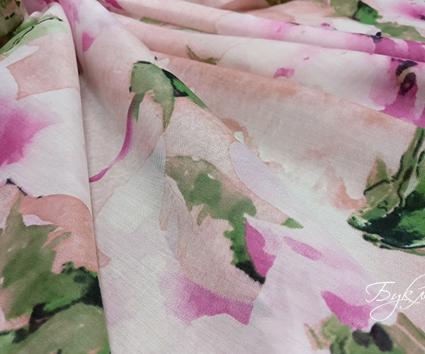 Розовые Цветы Шелк Батист