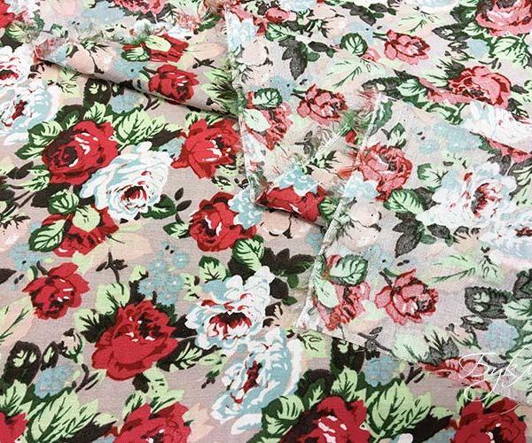 Штапель с Розовыми и Голубыми Цветами