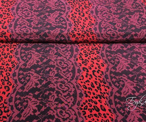 Красный с Леопардом Креп Италия
