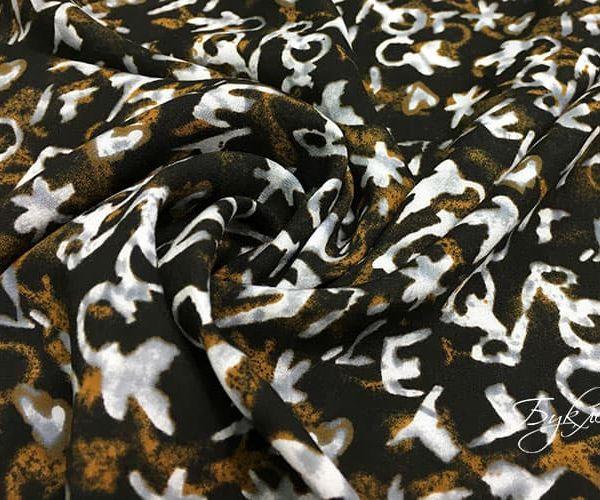 Черно-коричневая ткань с Буквами