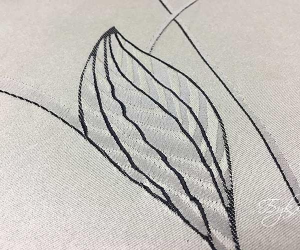 Серебристая Портьерная Ткань с Листьями