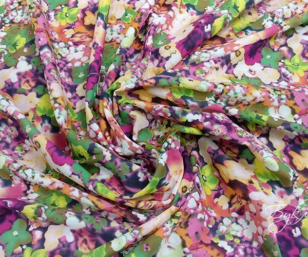 Хлопок Батист с Разноцветными Цветами