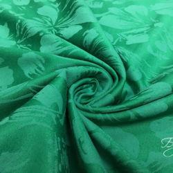 Зеленый Хлопок Жаккард с Цветами