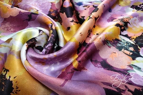 Атласная Ткань Сиреневые Цветы Италия