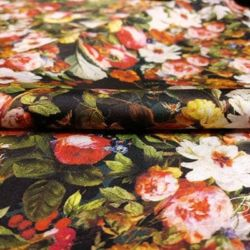 Атласная Ткань с Цветочным Рисунком