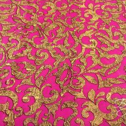 Розовая Ткань Креп с Узором