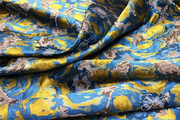 Сине-желтая Тафта Жаккард