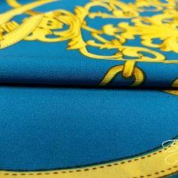 Ткань Креп Голубая с Узором
