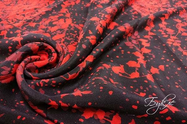 Черно-красная Ткань Креп