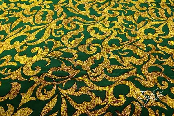 Шелковый Креп Зеленый с Узором