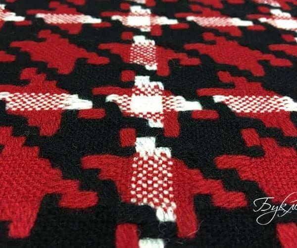 Красно-черная Шерстяная Ткань