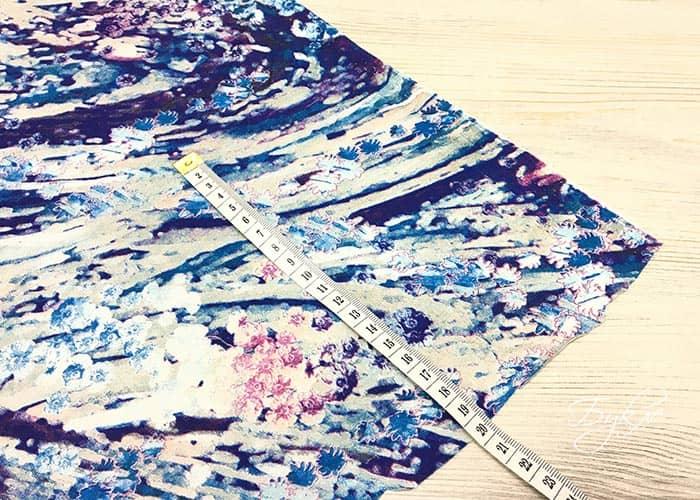 Сине-голубой Трикотаж с Цветами