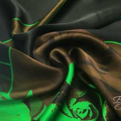 Шелк Атлас Зеленый с Розами