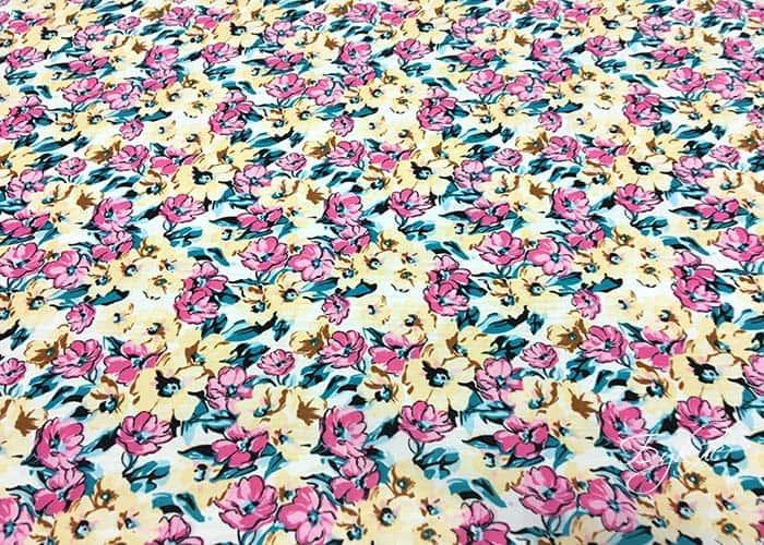 Желто-розовые Цветы Трикотаж