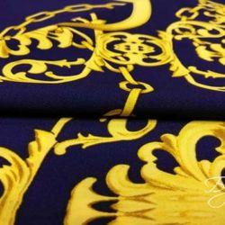 Ткань Креп Синяя с Золотом