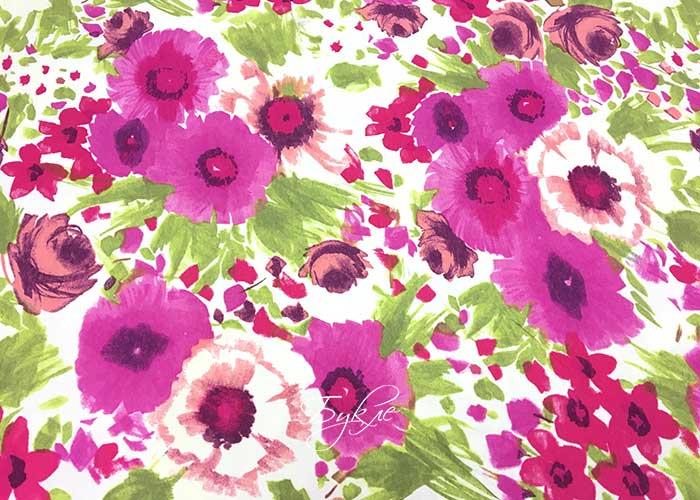 Трикотаж Цветы Фуксия