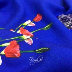 Штапель Синий с Цветами