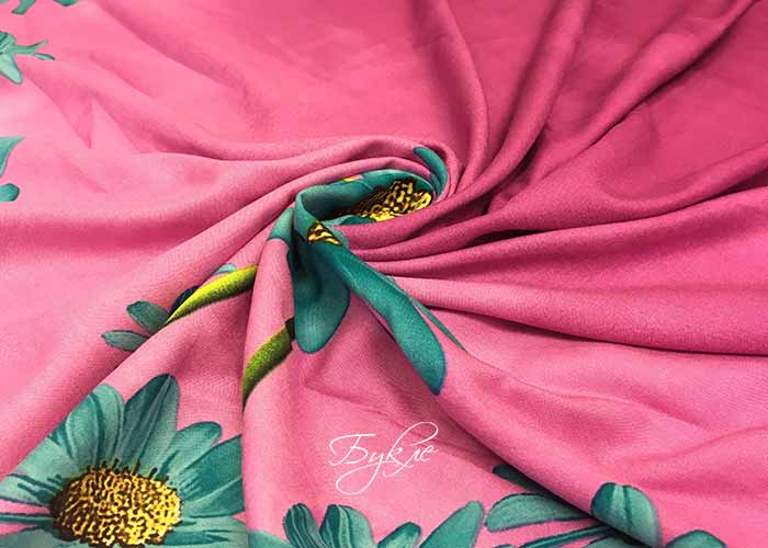 Штапель Розовый с Цветами Купон