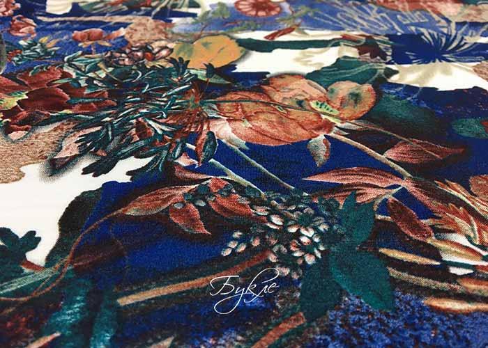 Штапель Цветы на Синем