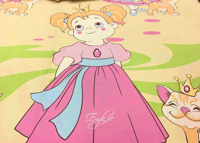Поплин Розовый с Принцессой фото