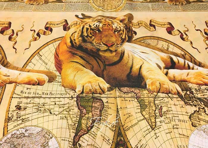 Сатин Хлопок с Тиграми