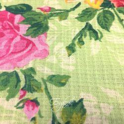 Вафельное Полотно Зеленое с Цветами