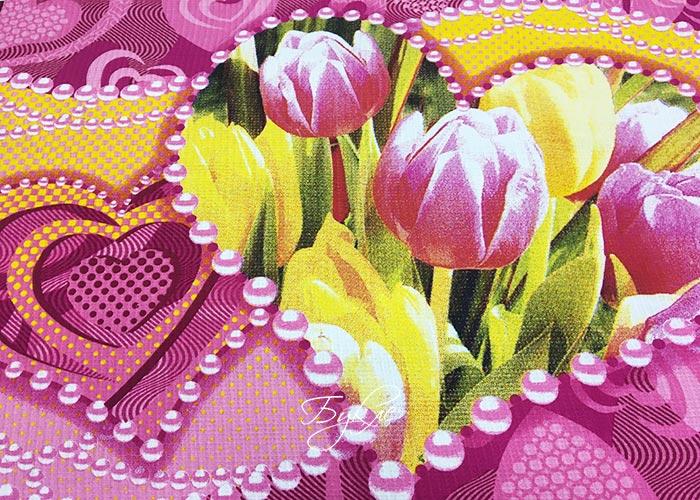 Вафельное Полотно с Тюльпанами