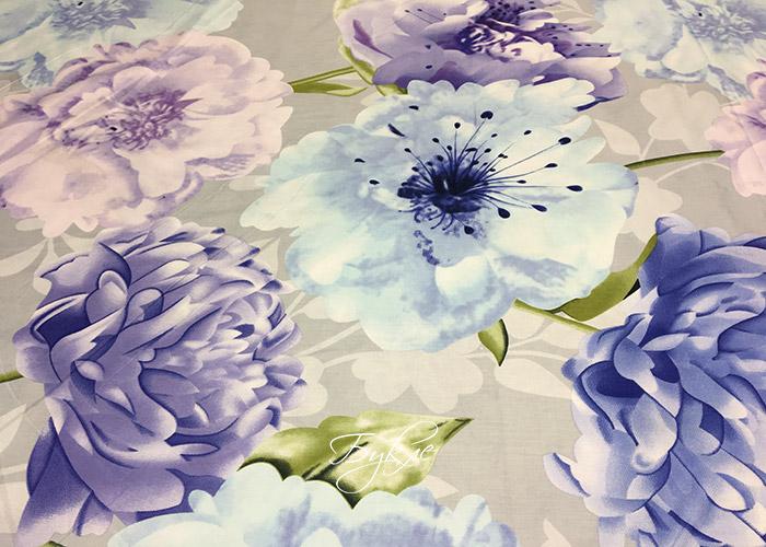 Сатин Хлопок Цветы на Сером фото