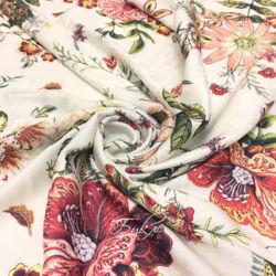 Штапель Жаккард Вискоза Цветы на Белом фото