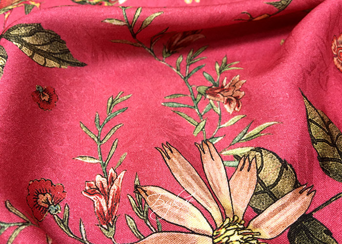 Штапель Жаккард Вискоза Цветы на Красном фото
