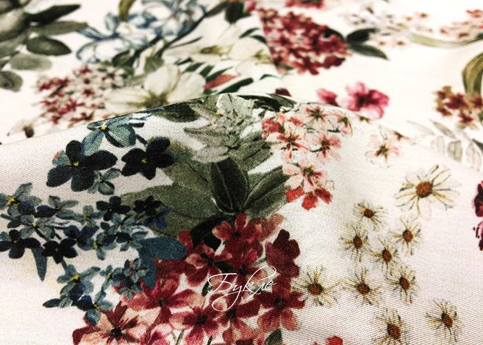Штапель Вискоза Цветы на Молочном фото