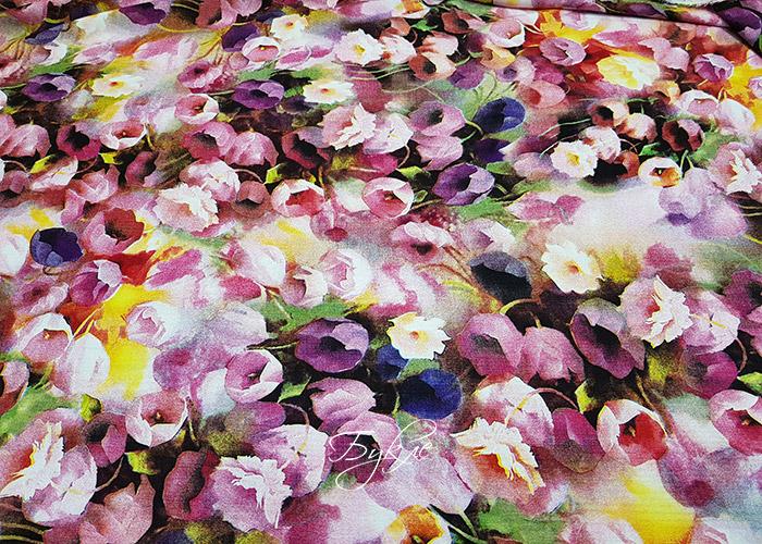 Вискоза Штапель Акварельные Цветы фото