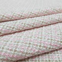 Хлопок Шанель Бежево-Розовая Италия фото