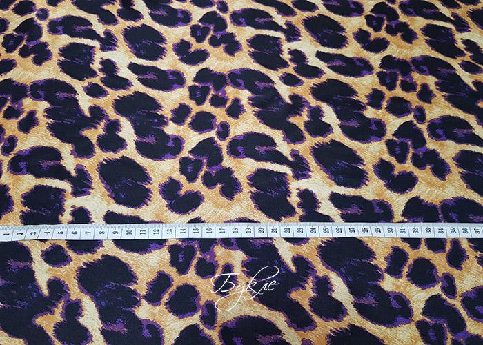Шелк Атлас Фиолетовый Леопард фото