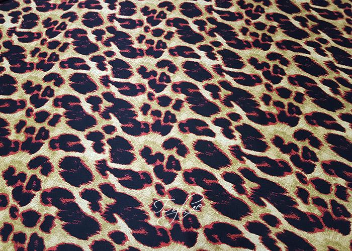 Шелк Атлас Красный Леопард фото