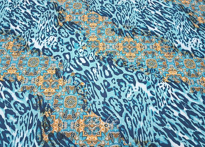 Хлопок Батист Голубой Леопард Италия фото